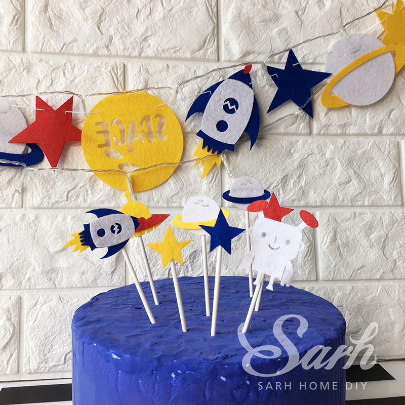 Outer Space Rocket Star Alien Birthday Cake Inserted Card Banner Led