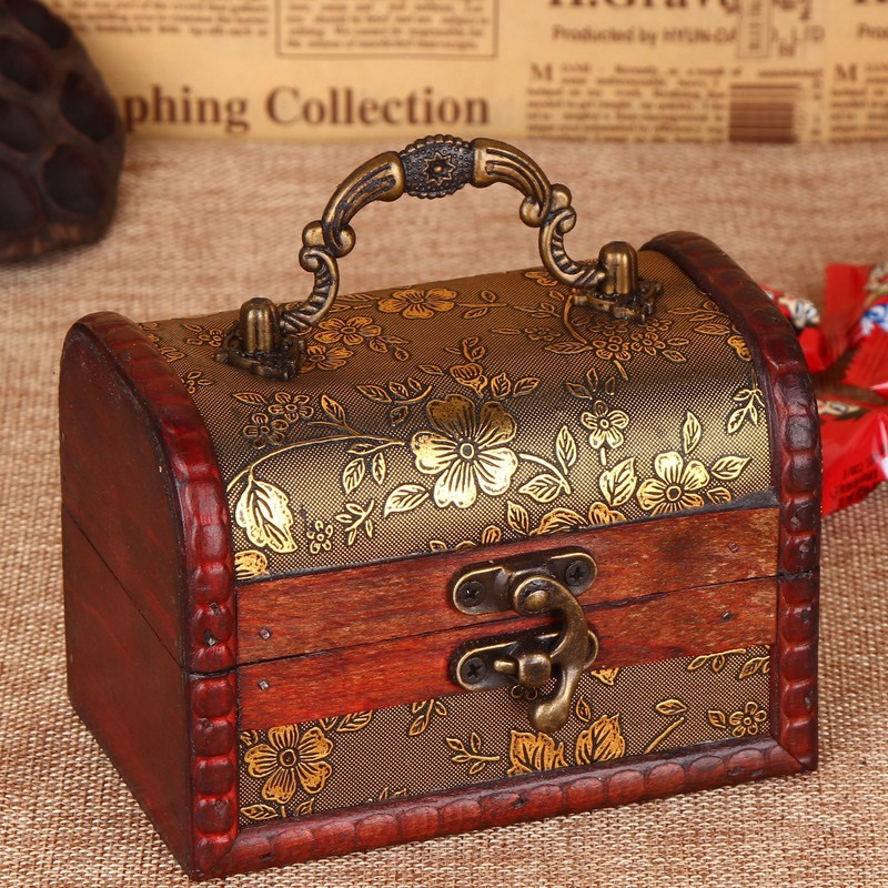 Jewelry Box Plywood Storage Case Flowers Pattern Retro Classic Wooden Vintage Metal Lock Candy Boxes Small Organizer S2017194