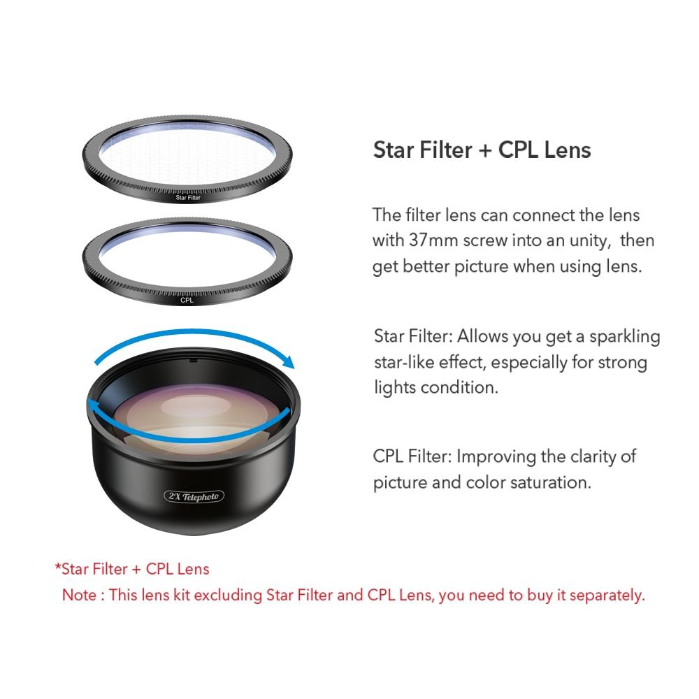 APEXEL HD 5 en 1 objectif de téléphone caméra 4K objectif Macro large Portrait objectif Super Fisheye filtre CPL pour iPhone Samsung tout téléphone portable - 2