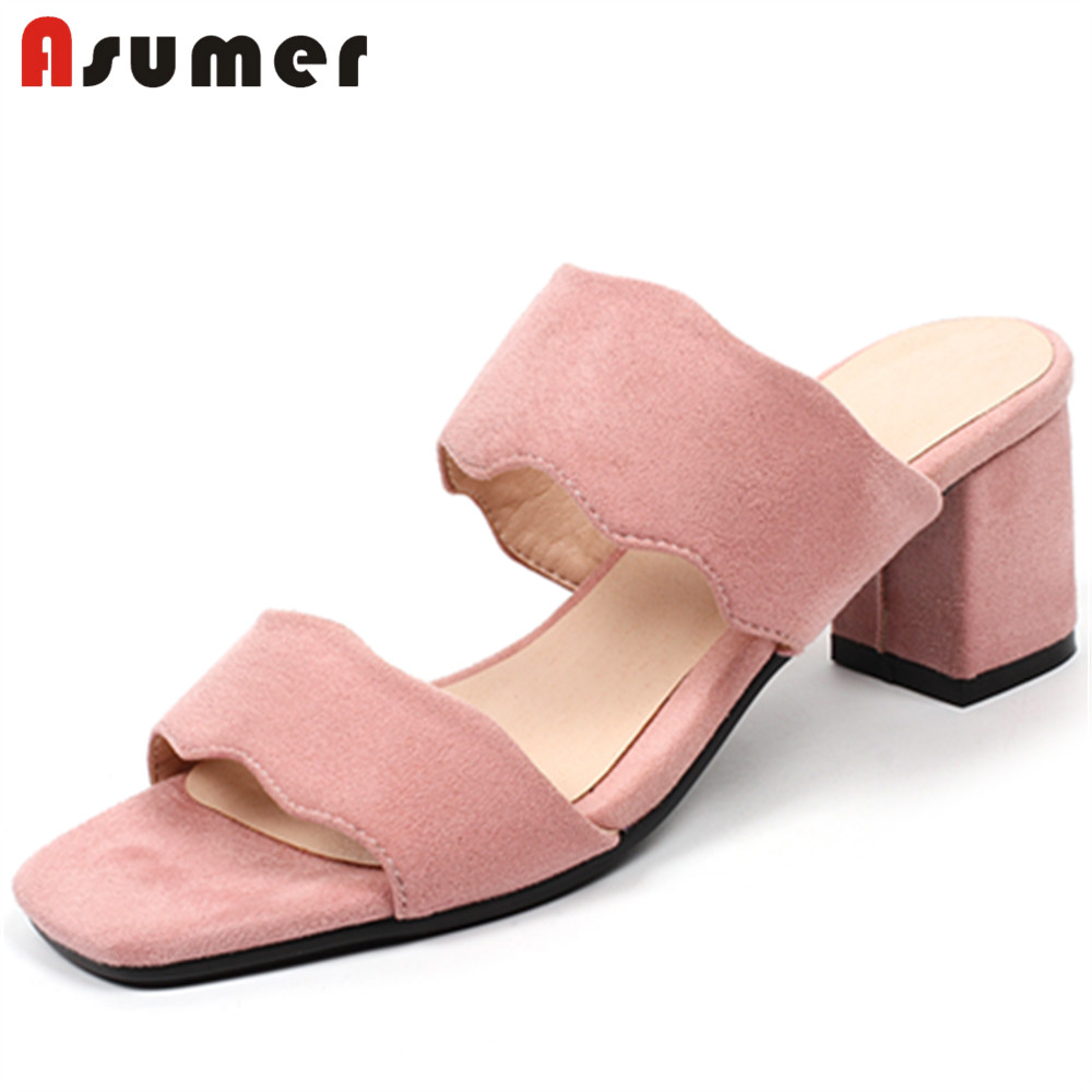 ASUMER Square Heels Toe-Shoes Sandals Women Black Big-Size Fashion Woman Pink 32-44 New-Arrivals