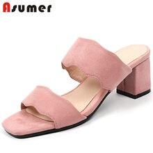 La manera de ASUMER 2018 nuevas llegadas verano Zapatos Mujer toe zapatos  tacones cuadrados sandalias mujeres Rosa negro tamaño . 066089928a66
