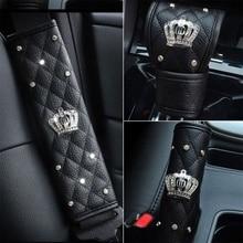 Черный автомобиль Шестерни переключения чехол с украшением в виде кристаллов кожа Стразы Декор авто аксессуары ручной тормоз крышка чехол для ремня безопасности дверных ручек