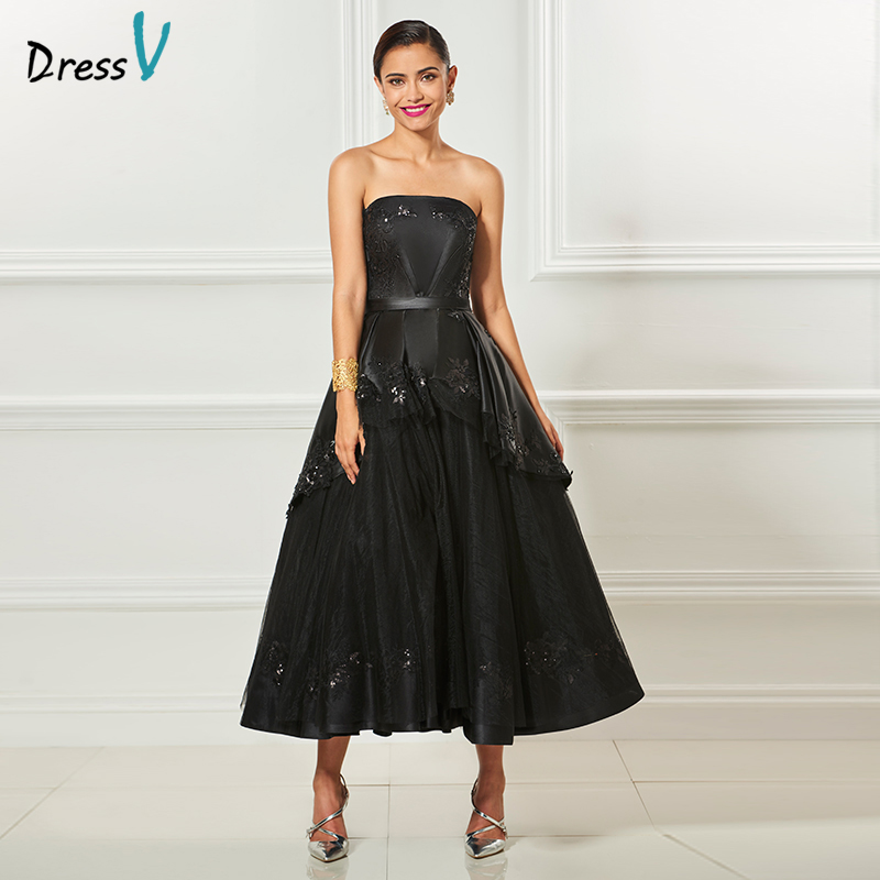 Dressv black strapless   cocktail     dress   elegant appliques sleeves tea length beading wedding party   dress   ball gown   cocktail     dress