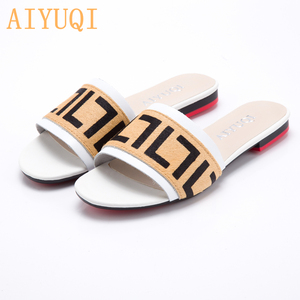 Image 5 - AIYUQI Women Slippers 2020 New summer Genuine Leather Flat Women slides  Mohair Casual Outdoor Slippers Women shoes