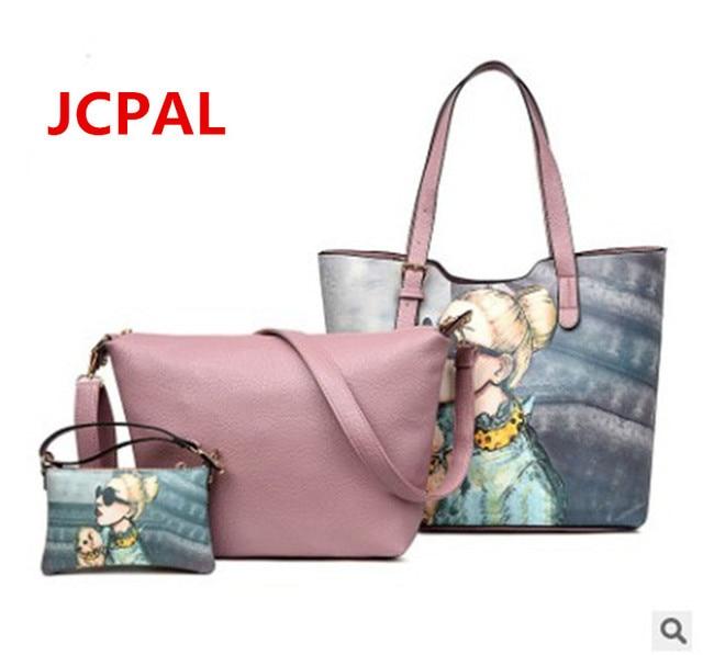 Women PU leather bag Graffiti Rock Girls Picture Package Messenger bags Handbag Art Painted Bags Shoulder Bag Totes +Coin purse