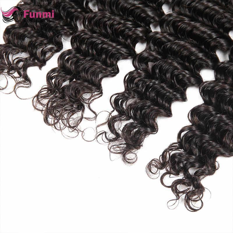 Перуанский Девы волос глубокая волна пучки волос Необработанные перуанской глубокая волна человеческих волос Связки Natural Цвет Фунми уток волос