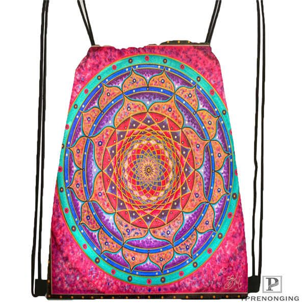 Custom Mandala El Laberinto De Rosa@1 Drawstring Backpack Bag Cute Daypack Kids Satchel (Black Back) 31x40cm#20180611-02-99