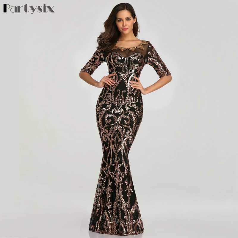 Partysix נשים אלגנטי ארוך פאייטים שמלה חצי שרוול חרוזים פורמליות ערב המפלגה שמלת זהב/שחור