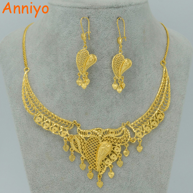 a156d70adb Anniyo Dubai Jewelry sets Necklace Earrings Gold Color Arab Wedding Jewelry  Ethiopian Africa Best Gifts Middle East #007712