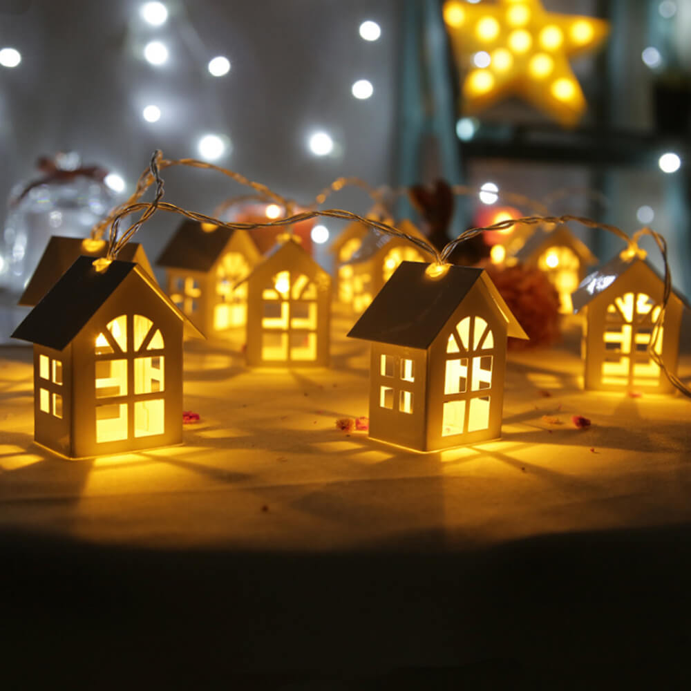 47ce7a2d 15 CM 10 LED House LED String Fairy Light Battery Wedding Room Chirstmas  tree Garland