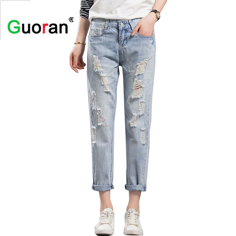 {Guoran} Washed Women ripped jeans pants white ripped leggings boyfriend jeans style denim jeans casual low waist street fashion setwigg womens ripped thick cotton denim jeans blue washed holes boyfriend style female casual jeans pants sg25