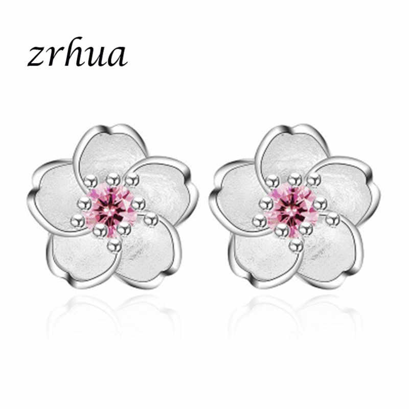 ZRHUA Women Elegant 925 Sterling Silevr Flower Stud Earrings for Girls Birthday Gifts Minimalist Jewelry Wholesale Women Brincos
