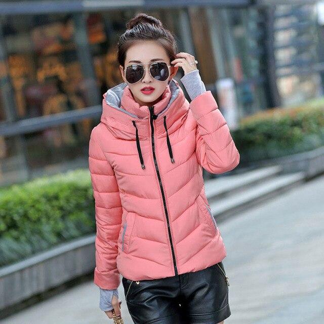 Wanita Musim Dingin Jaket 2018 Fashion Down Kerah Berdiri Wanita Hangat  Jaket Warna Solid Dlim Plus 0288519b2b