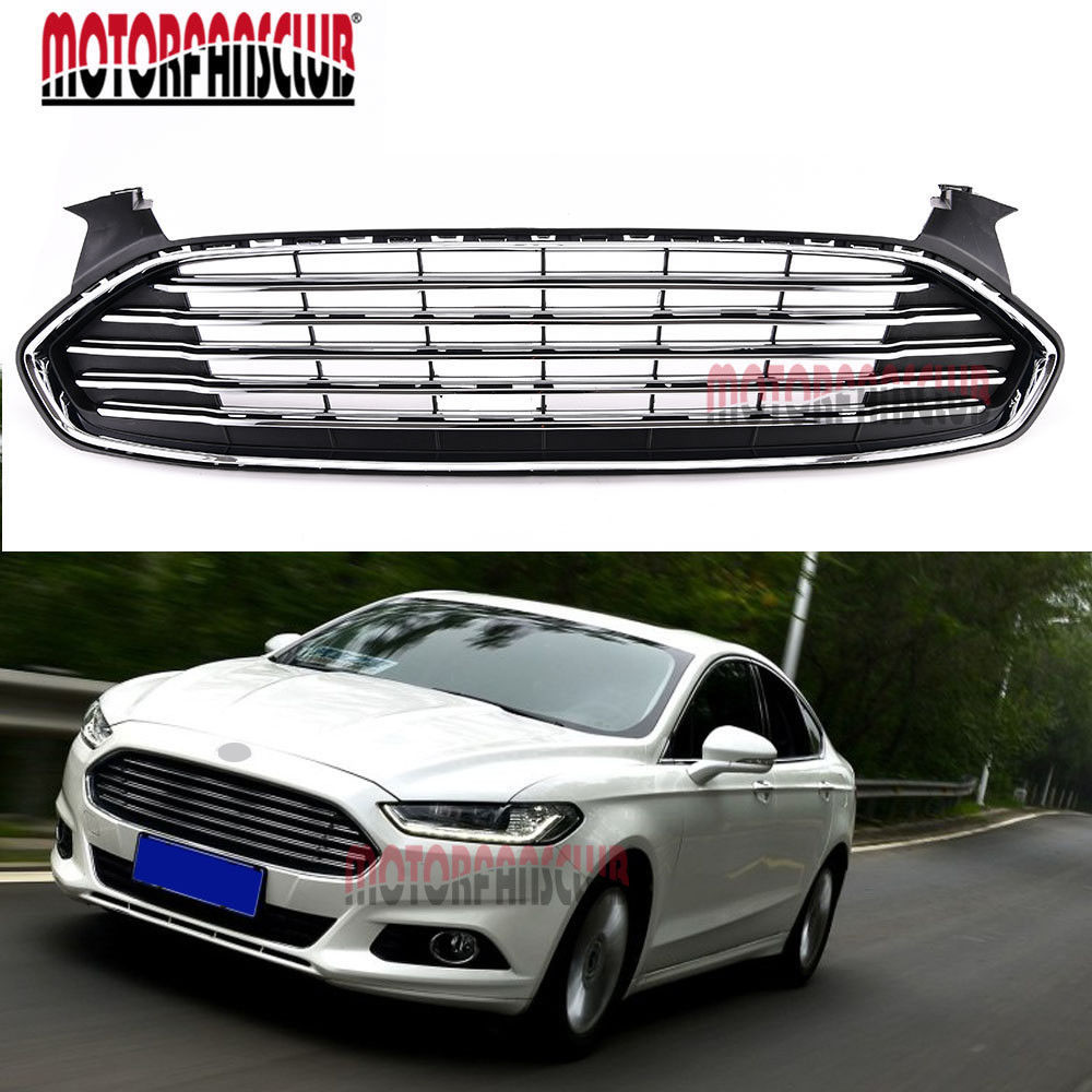For 2013 2014 2015 ford fusion front bumper radiator hood black chrome original grill protector auto
