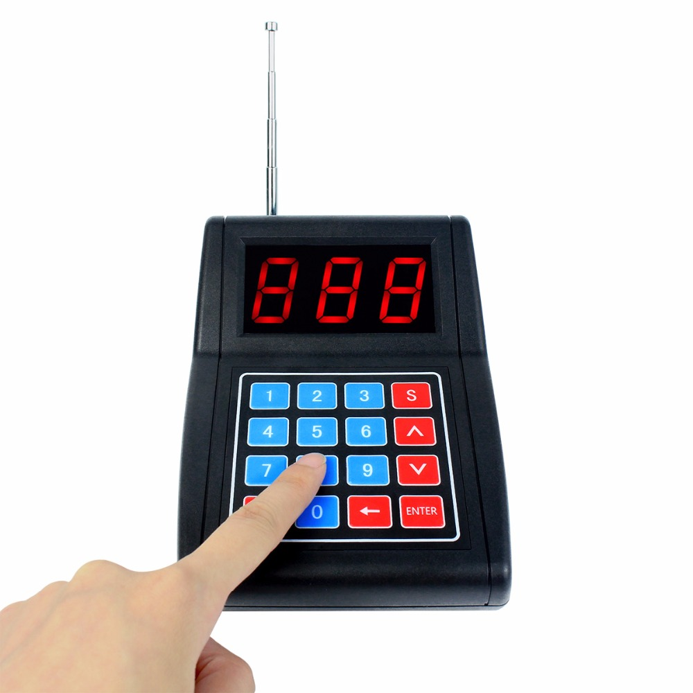 999 Channel Wireless Call Button Keypad Transmitter for Wireless Calling System Paging Queuing Restaurant Pager F4477A wireless service calling system paging system for hospital welfare center 1 table button and 1 pc of wrist watch receiver