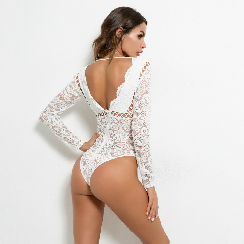 a95931d903d MUXU sexy white lace transparent long sleeve bodysuit wome rompers womens  jumpsuit macacao feminino backless sexy shop one piece-in Bodysuits from  Women s ...