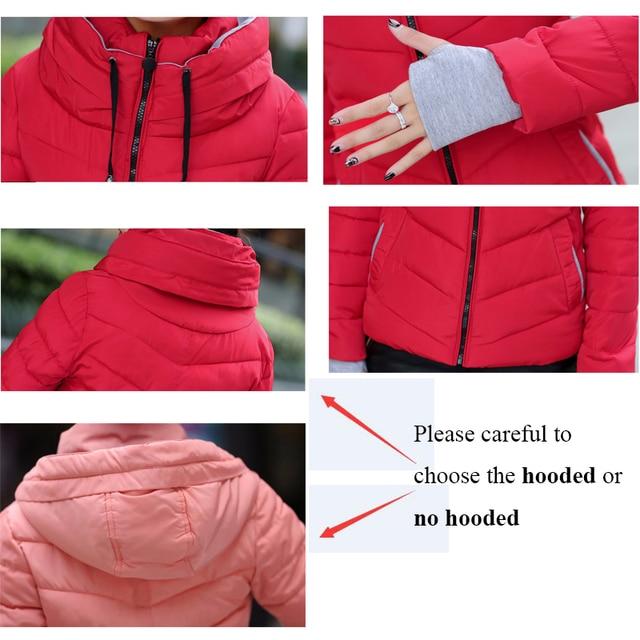 Winter Jacket Women Cotton Short Jacket 2017 New Girls Padded Slim Hooded Warm Parkas Stand Collar Coat Female Autumn Outerwear