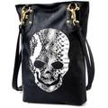 Women's Faux Leather Skull Messenger Handbag Tote Punk Rivets Shoulder Bag