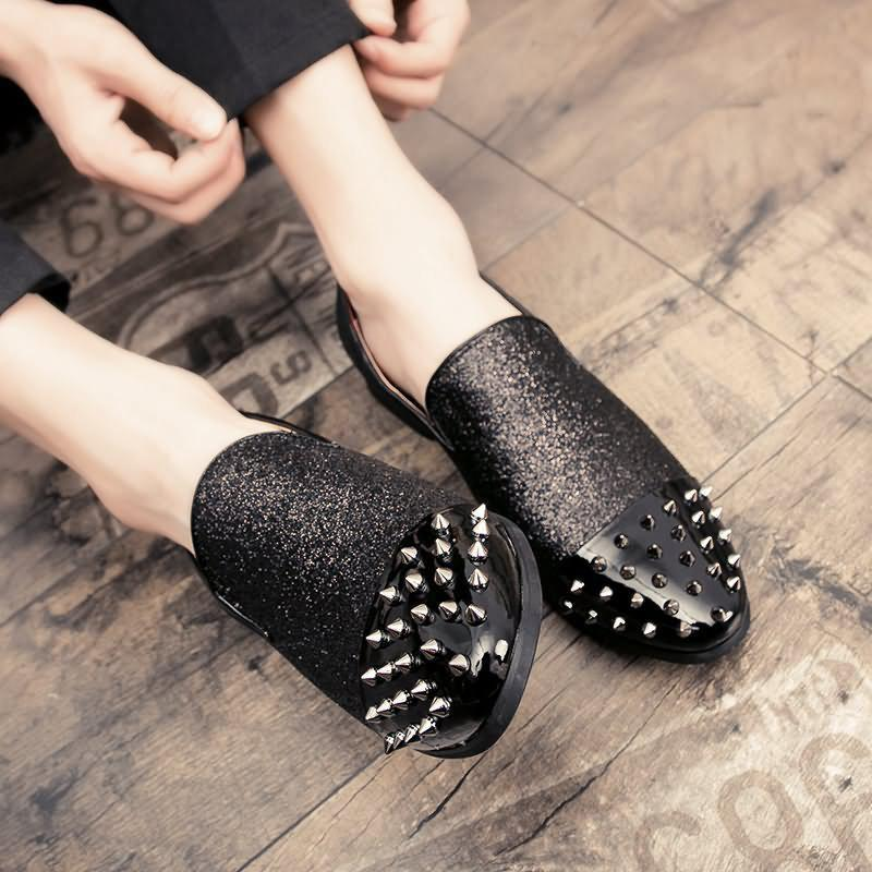 Noir De Chaussures Mode Chaussures Coups Hommes Air Pied Rivets Paresseux Confortable Pieds qPng7Ua