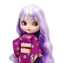 ICY DBS lalki Blyth biała skóra wspólne body nowy matowy twarz z brwi lip mieszane fioletowe loki DIY sd prezent zabawka