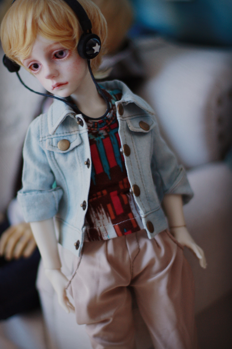 Old Jeans Jacket Top Coat for BJD 1/4 MSD 1/3 SD10,SD13 BJD Doll Clothes CM13 new handsome fashion stripe black gray coat pants uncle 1 3 1 4 boy sd10 girl bjd doll sd msd clothes
