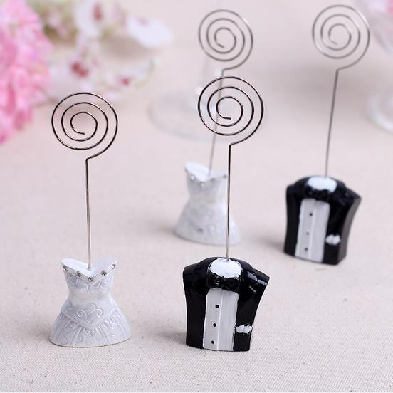 Ctrue 12PC Bride Groom Design Place Name Card Holders Photo Holder Wedding Party Table Decoration Cards Clips