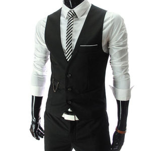 2020 New Arrival Dress Vests For Men Slim Fit Mens Suit Vest Male Waistcoat Gilet Homme Casual Sleeveless Formal Business Jacket(China)
