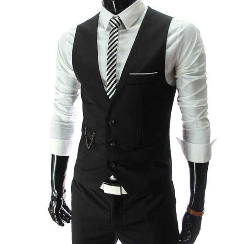2019 новое прибытие платье жилеты для мужчин Slim Fit Мужская жилетка, костюм жилет Homme Повседневная Формальная деловая куртка без рукавов