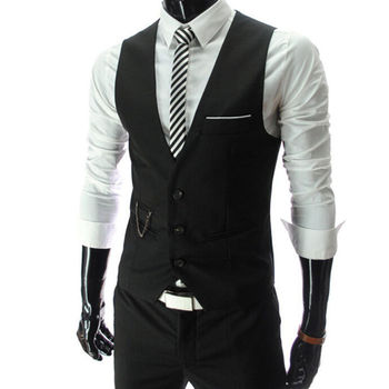 2020 New Arrival Dress Vests For Men Slim Fit Mens Suit Vest Male Waistcoat Gilet Homme Casual Sleeveless Formal Business Jacket