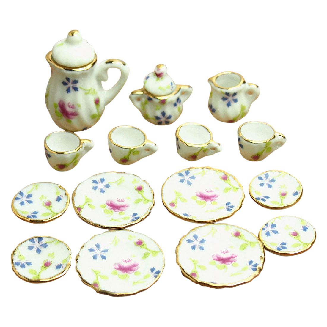Dollhouse Miniature 1: 12 Toy 17 Pcs Flower Pattern Porcelaine Tea Set