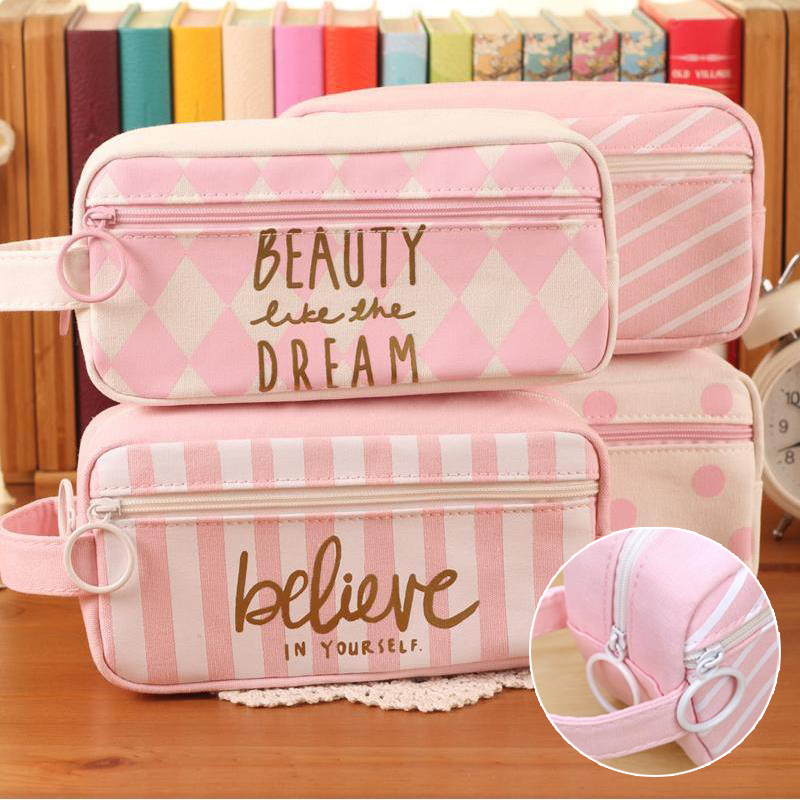 HIGH QUALITY Kawaii Grid Pink Canvas Pencil Case large capacity Pencilcase pencil bag Chancery School Stationery penalty 04893