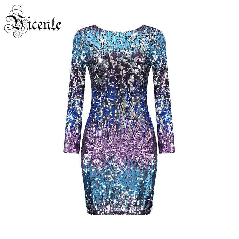 Vicente HOT 2019 New Fashion Elegant Ombre Sequins Embellished Long Sleeves  Wholesale Women Celebrity Party Mini 96d6852aae77