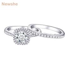 Newshe 2 шт Halo обручальное кольцо набор трендовых ювелирных изделий 925 пробы серебро 1,6 Ct круглые AAA обручальные кольца с фианитами для женщин 1R0031