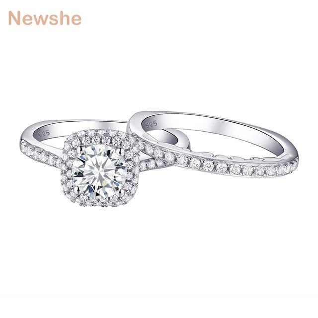 Newshe 2 個ハロー結婚指輪セットトレンディジュエリー 925 スターリングシルバー 1.6 ct ラウンド aaa cz の婚約指輪女性 1R0031