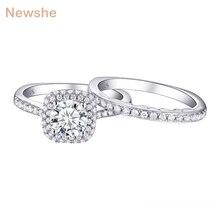 Newshe 2 Pcs Halo Hochzeit Ring Set Trendy Schmuck 925 Sterling Silber 1,6 Ct Runde AAA CZ Engagement Ringe Für frauen 1R0031