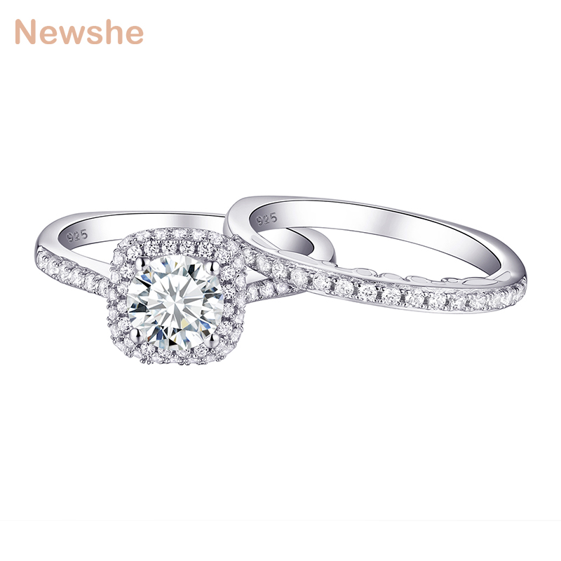 Newshe 2 Pcs Halo Wedding Ring Set Trendy Jewelry 925 Sterling Silver 1.6 Ct Round AAA CZ Engagement Rings For Women 1R0031