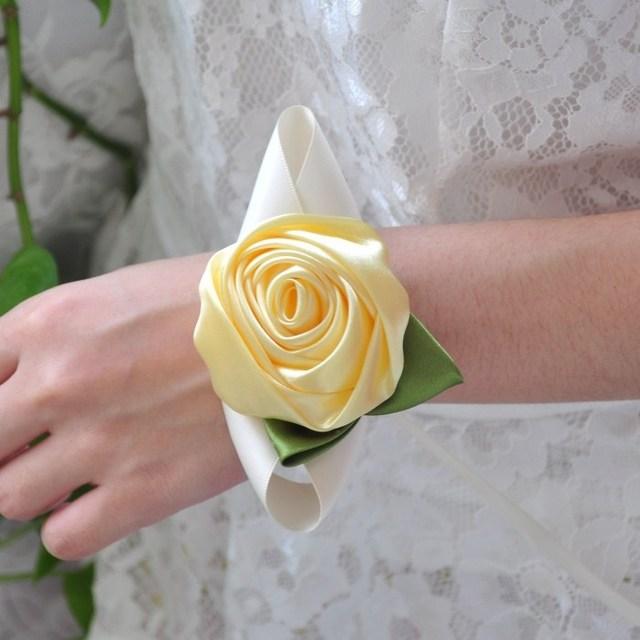 Wedding Wrist Corsage Bride Bridesmaid Diy Silk Bracelet Decorations Women Flower Party Prom Accessories