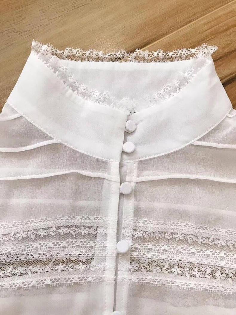 Empalme Ziwwshaoyu Camisa Sólido 2019 De Beige Elegante Puff Manga Seda Y Primavera Nuevo Verano Soporte Blusa Mujeres Encaje Temperamento wqqtErB