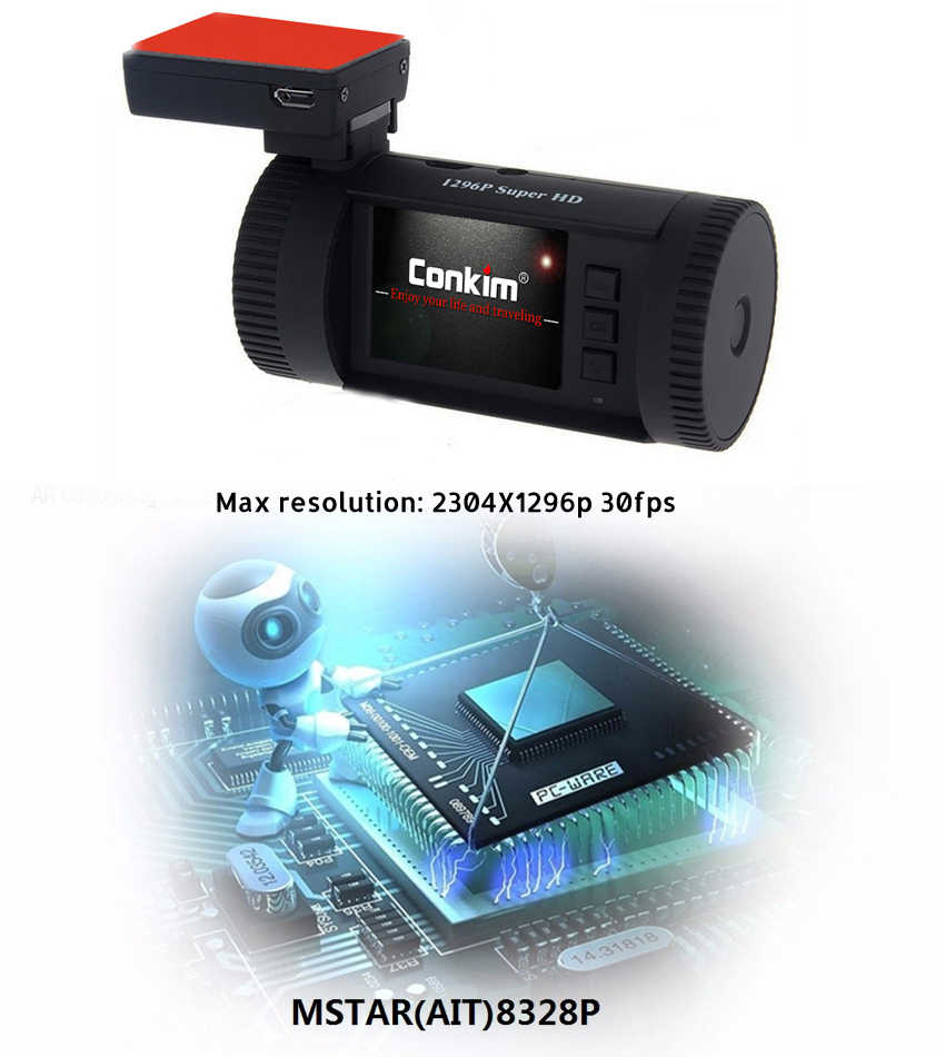 Conkim Dash Cam GPS DVR enregistreur vidéo numérique 1296P 1080P Full HD caché boîte noire caméra automatique DVR Mini 0826P avec Kit de fil dur