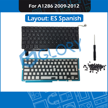 New ES Spanish A1286 Keyboard For Macbook Pro 15.4″ 2009-2012 Replacement Keyboard with Backlight Screws Tool