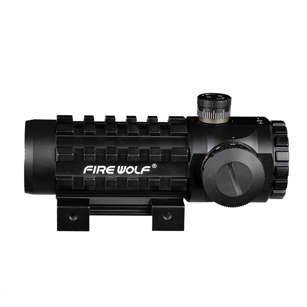 FIRE WOLF 3X28 Hunting Green Red Dot Cross Sight Scope Tactical Optics Riflescope Fit 11/20mm  Adjustable Rail Rifle Scopes