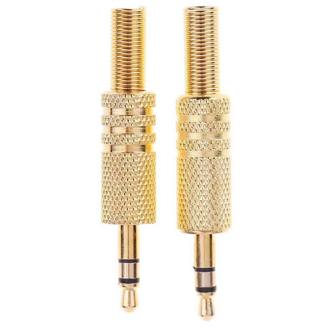 2Pcs 3.5 Stereo Dual Channel Headphone Plug Audio Small Three Core Plug 3.5 Headphone Plug 3.5 Welded Type Stereoconverter