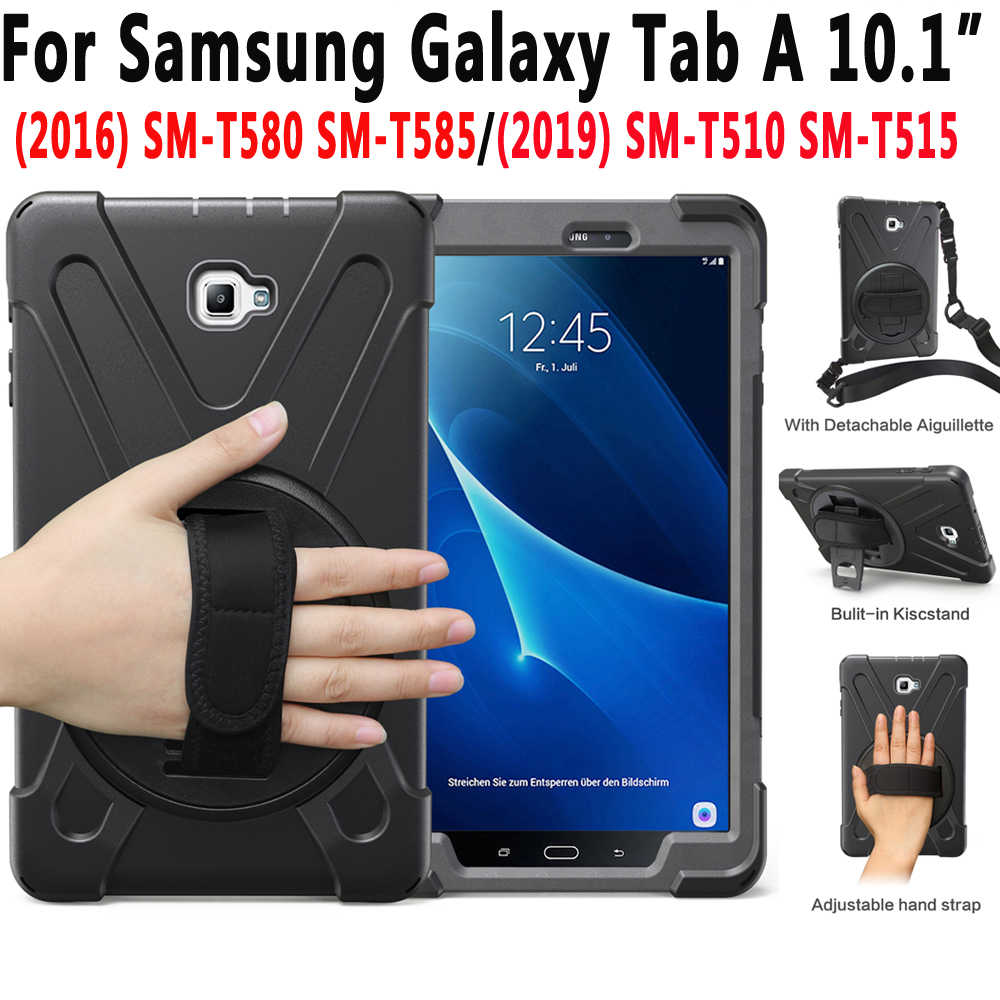 Rotating Hand Shoulder Strap Case for Samsung Galaxy Tab A A6 10.1 2016 2019 T585 T580 T580N T585N T510 T515 SM-T510 Cover Funda