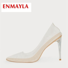 ENMAYLA Sequined Cloth Pointed Toe Casual Thin Heels Slip-On Calzado Mujer Pumps Women Shoes High Heels Size 34-43 ZYL2093