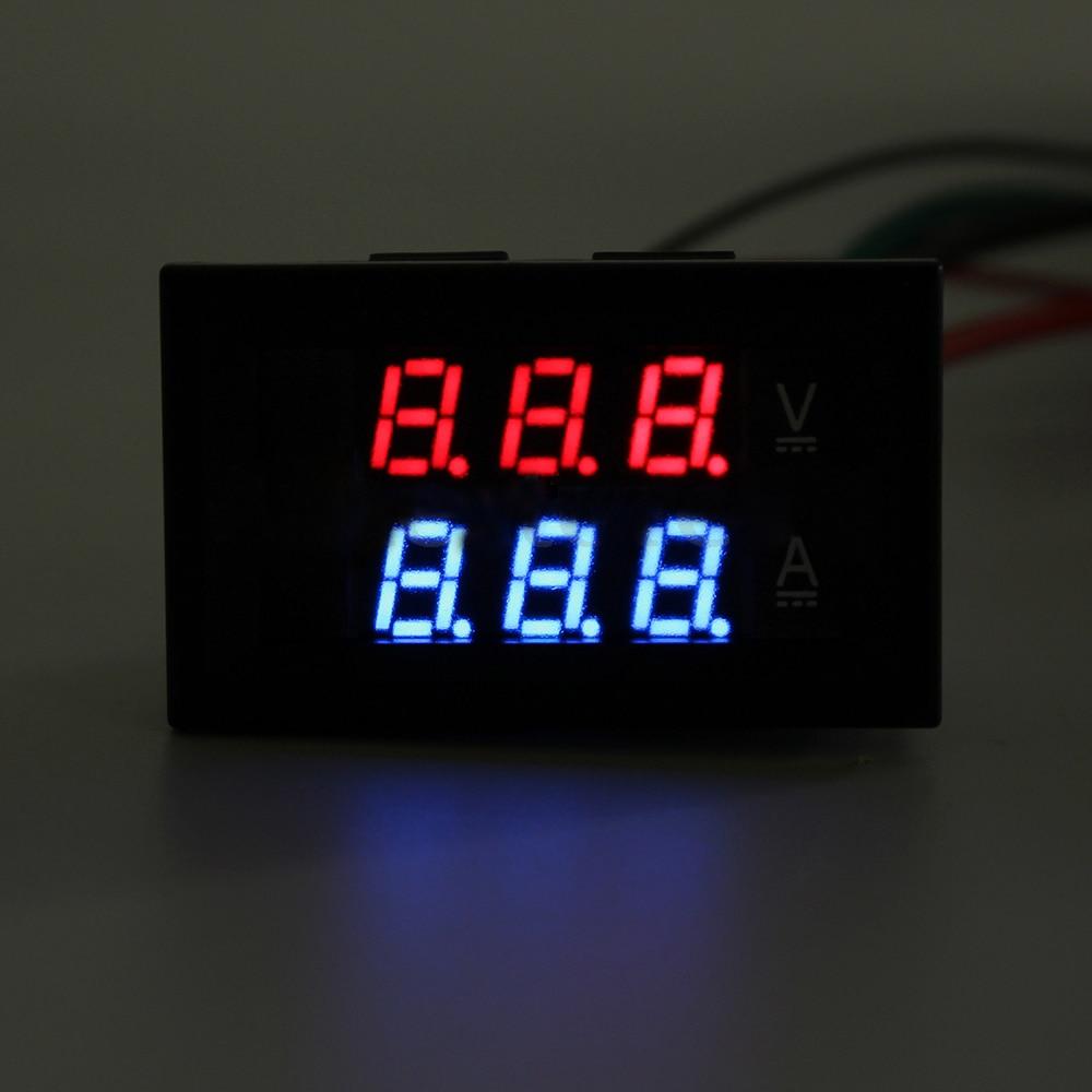 Lixf Dc 100v 10a Voltmeter Ammeter Panel Red Blue Led Dual