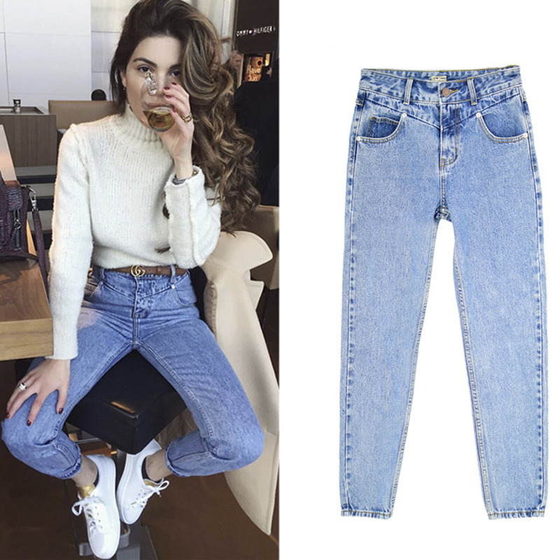 Women High Waist Mom Denim   Jeans   Boyfriend Cotton Pants Fashion Vintage Female Winter Thick Denim Blue Pants Femme Plus Size