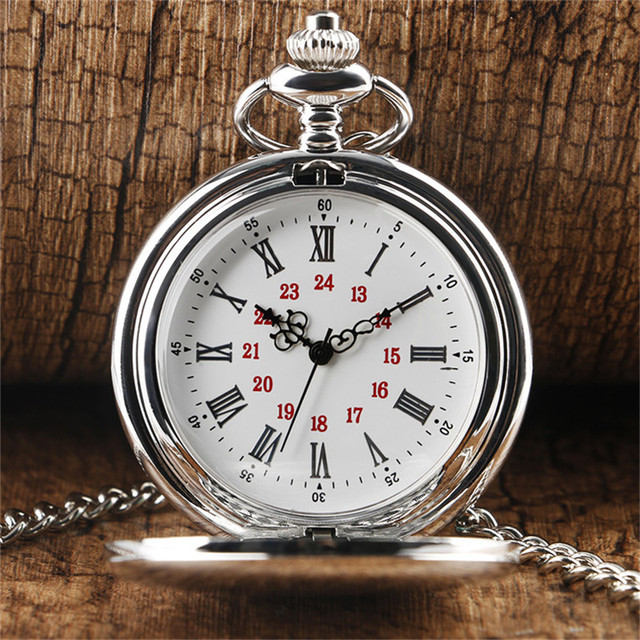 2018 New Arrival Silver Smooth Quartz Pocket Watch for Men Women With Short Chai