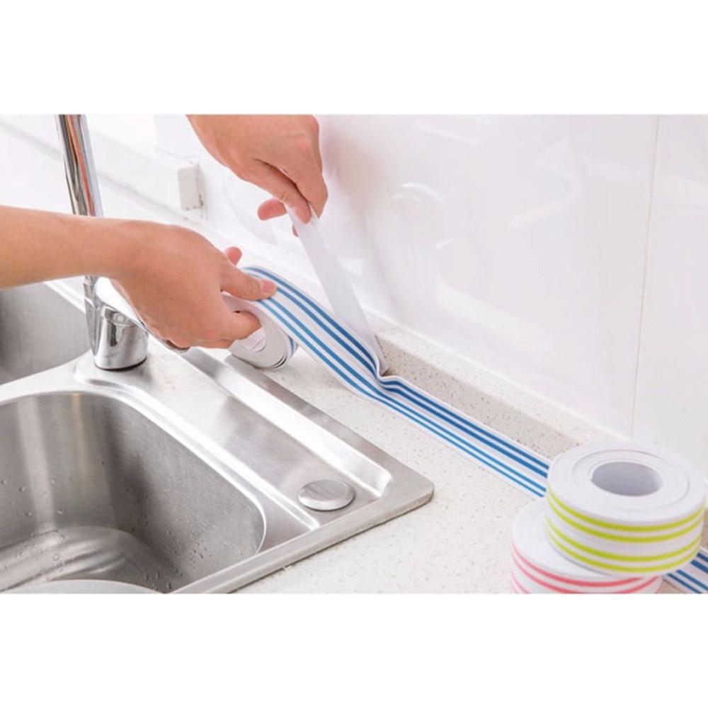 1Pc Mildew Waterproof Tape Corner Seams Bathroom Toilet Sealing Striped Seal Protectors Sink