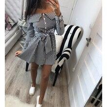 Casual Women Shirts Dress Elegant Off Shoulder Striped Dresses Short Bow Ties