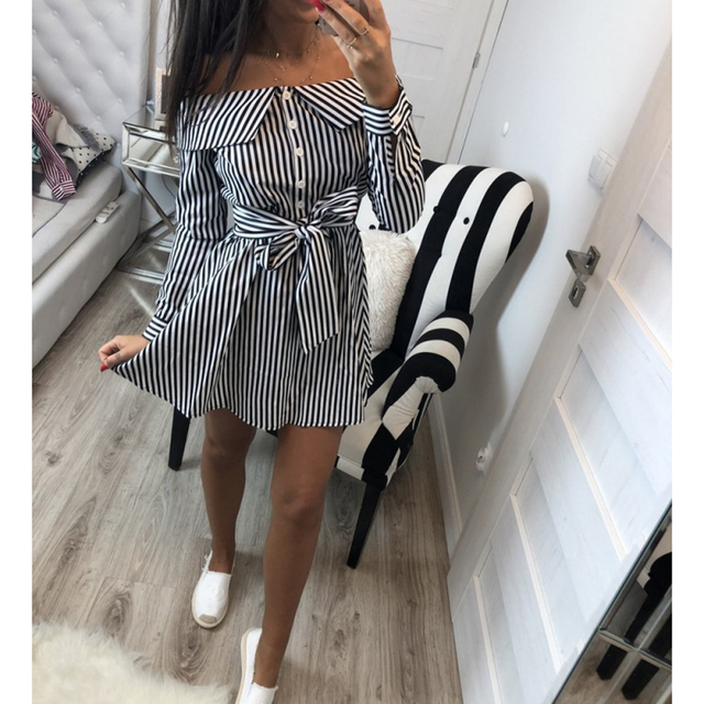 2018 Casual Women Shirts Dress Elegant Off Shoulder Striped Dresses Short Bow Ties Summer Dress Vestidos
